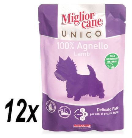 Miglior Cane Unico mokra hrana, jagnjetina, 12 x 100 g