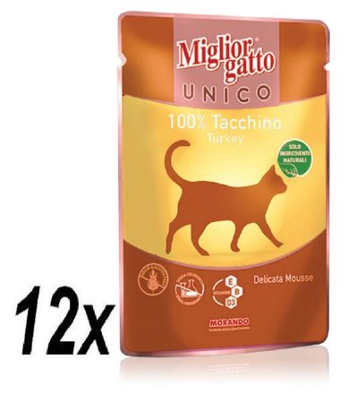 Miglior saszetka Gatto Unico, Indyk, 12 x 85g