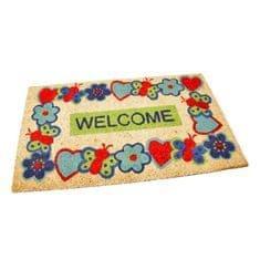FLOMAT Kokosová vstupní rohož Welcome - Cheerful - 75 x 45 x 1,7 cm