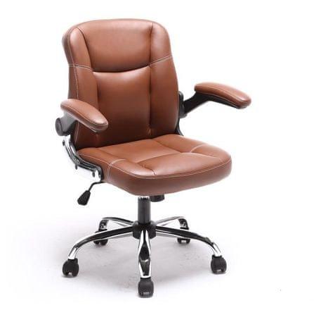 Kancelárske kreslo, ekokoža hnedá+kovová podstava+plastové podrúčky, GARED