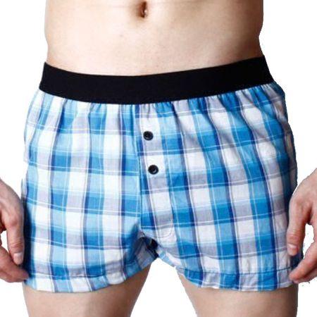 Pink Hero volné trenýrky kostičkované modro-bílé Super Body - Velikost: XL