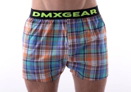 DMXGEAR luxusní pánské volné trenýrky Orange Tartan - Velikost: S