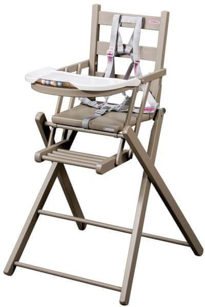 Candide Skládací jídelní židlička Combelle, šedá