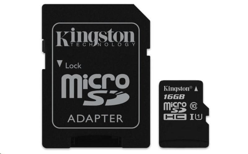 Kingston microSDHC 16GB Class 10 UHS-I + SD adapter (SDCS/16GB)