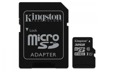 Kingston Micro SDHC Canvas Select 32GB 80MB/s UHS-I + SD adaptér (SDCS/32GB)