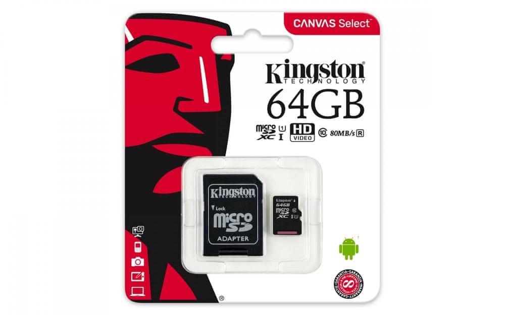 Kingston Micro SDXC Canvas Select 64GB 80MB/s UHS-I + SD adaptér (SDCS/64GB)