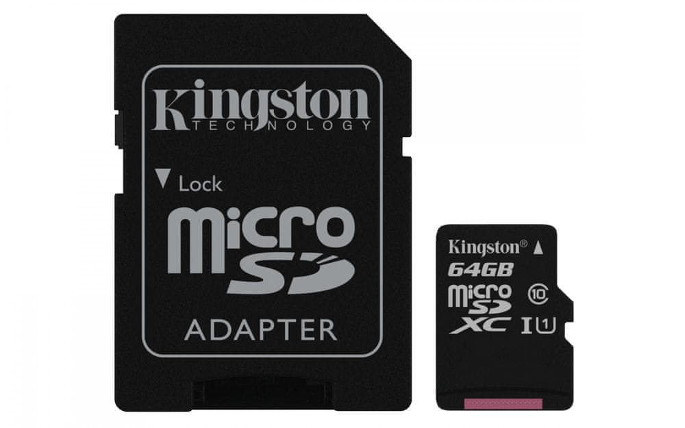 Kingston Micro SDXC Canvas Select 64GB 80MB/s UHS-I + SD adaptér (SDCS/64GB)