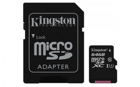 Kingston spominska kartica microSDHC, 64GB (SDCS/64GB)