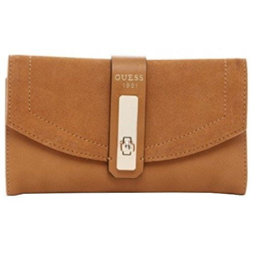 Guess Peněženka Kingsley Slim Clutch Wallet brown