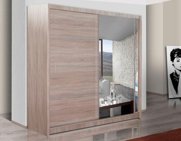 Šatní skříň s posuvnými dveřmi VISTA 180, dub sonoma