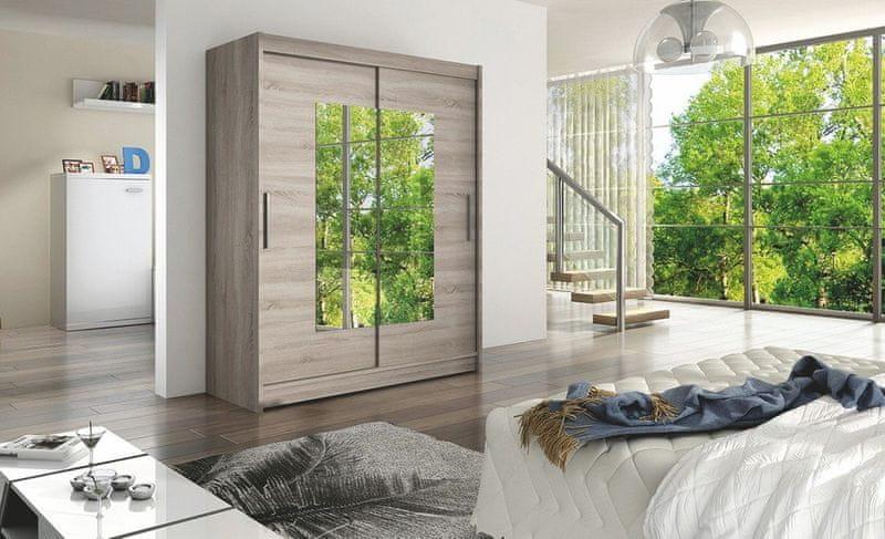 WESTA III šatní skříň s posuvnými dveřmi, dub lanýžový DOPRODEJ