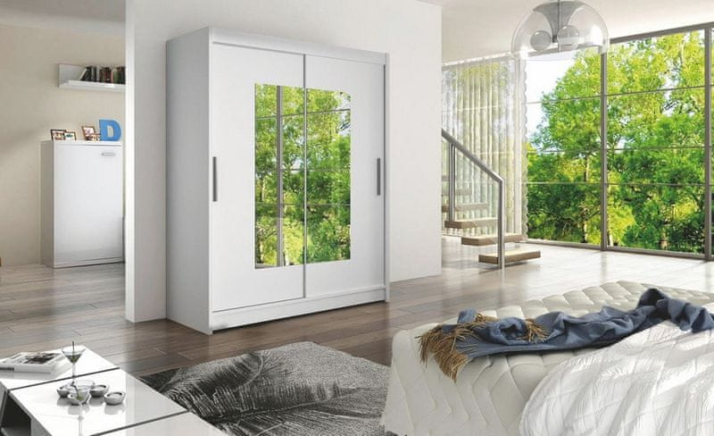 WESTA III šatní skříň s posuvnými dveřmi, bílá DOPRODEJ
