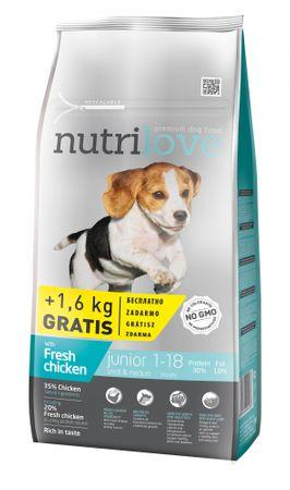 Nutrilove hrana za mladiče majhnih in srednjih pasem Fresh, piščanec 8 kg + 1,6 kg gratis