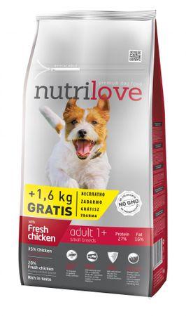 Nutrilove sucha karma dla psa Dog Adult Small & Medium Fresh Chicken 8 kg + 1,6 kg