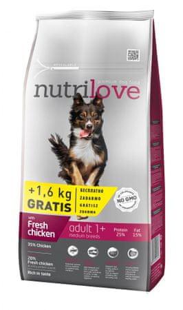 Nutrilove hrana za odrasle pse srednjih pasem Fresh, piščanec 8kg + 1,6kg gratis