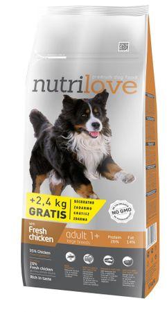 Nutrilove hrana za odrasle pse Large Fresh Chicken 12kg + 2,4kg gratis