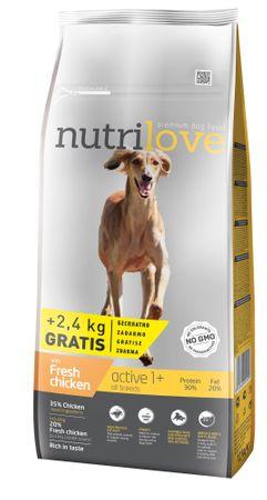Nutrilove hrana za aktivne pse Active Fresh, piščanec 12kg + 2,4kg gratis