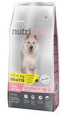 Nutrilove hrana za pse Sensitive, jagnjetina in riž 12kg + 2,4kg gratis