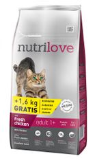 Nutrilove Cat Adult Fresh Chicken 8kg + 1,6kg gratis
