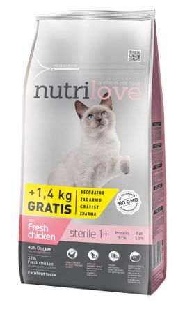 Nutrilove Cat Sterile Fresh Chicken 7kg + 1,4kg Zdarma