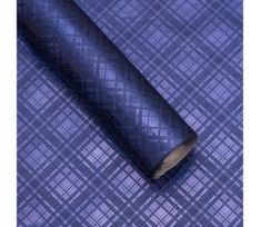 Giftisimo Luxusní strukturovaný balicí papír, tmavě modrý, vzor károvaný, 5 archů