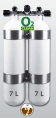 """EUROCYLINDER Lahev """"dvojče"""" 2 x 7 L 300 bar s manifoldem a obručemi"""