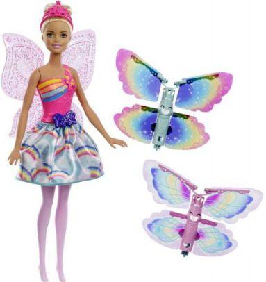 Mattel Barbie létající víla s křídly- běloška