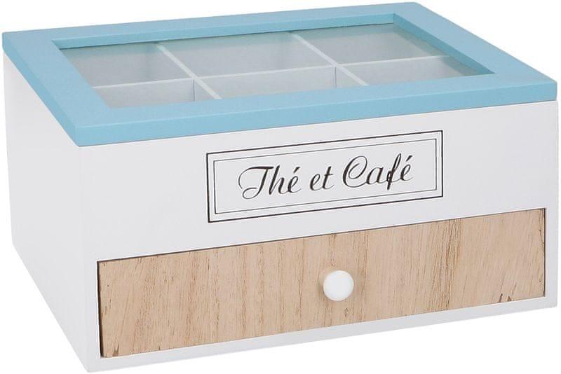 Time Life Krabička na čaj s šuplíkem 6 přihrádek