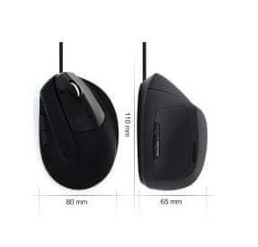 Ewent optična miška Ergonomic Vertical, USB, črna