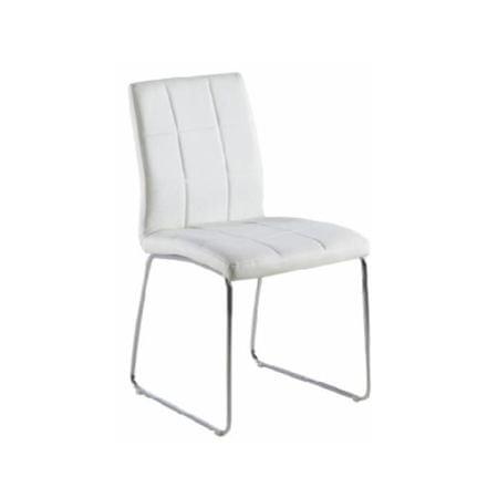 Stolička, biela ekokoža+ chrom nohy, SIDA