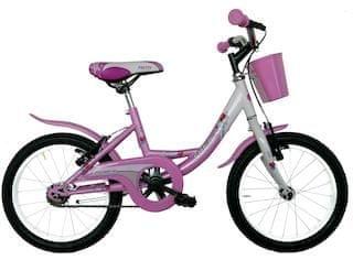 Frejus dekliško kolo s košaro, 16'', belo-roza