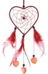 Kaemingk Lapač snů srdce 26 cm, červená