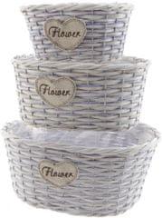 Kaemingk Set oválných košíků 3 ks, béžová/fialová