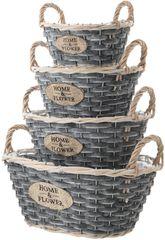 Kaemingk Set oválných košíků 4 ks, šedá