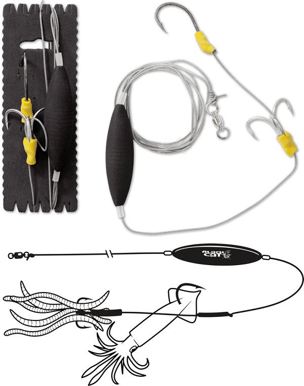 Black Cat Subfloat Worm and Calamari Rig 100 kg 180 cm 3/0
