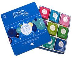 English Tea Shop Dárková plechová kazeta Modrá - Vánoční modré ozdoby BIO 72 sáčků/9 příchutí