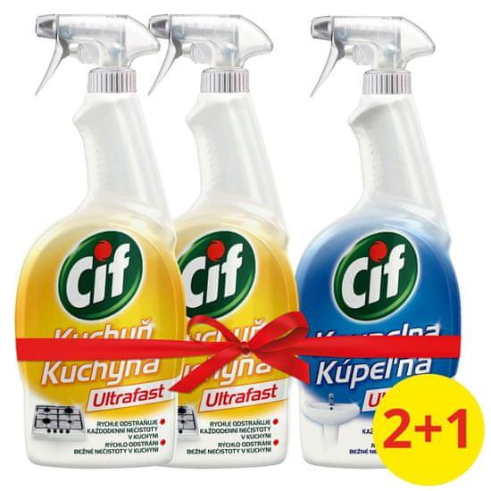 Cif Ultrafast Kuchyňa čistiaci sprej 2 x 750 ml + UltraFast Kúpeľňa 750 ml