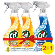 Cif Power&Shine Kuchyně čistící sprej 2 x 500 ml + Power&Shine Koupelna 500 ml