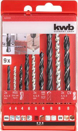 KWB set svedrov za kovino, beton in les, HSS, TCT, CV, 9/1, DIN 338 (420400)