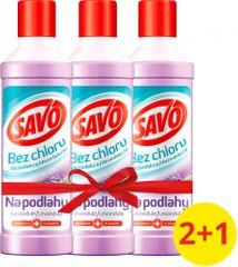 Savo Na podlahy dezinfekční prostředek bez chloru Levandule 3x 1 l
