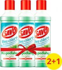Savo Na podlahy dezinfekční prostředek bez chloru Eukalyptus 3x 1 l