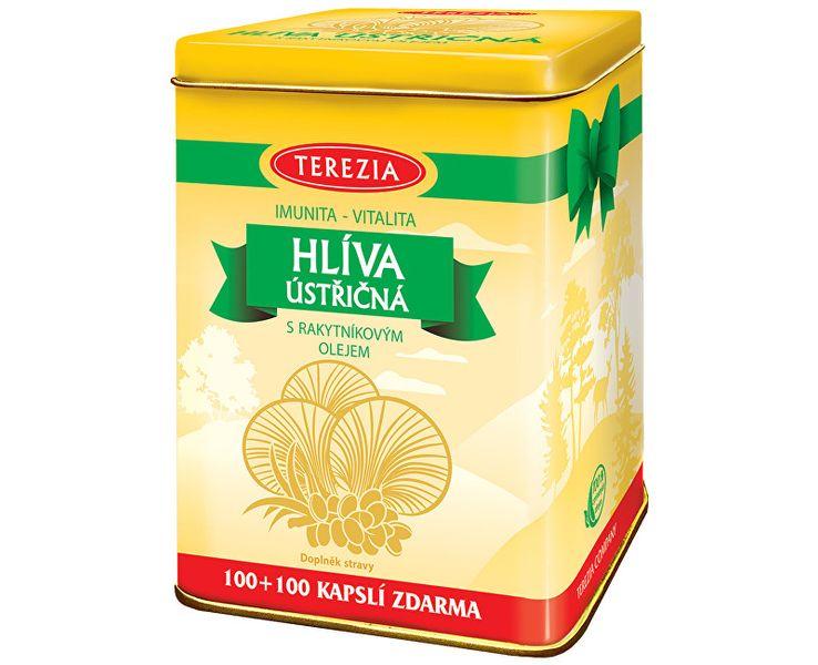 TEREZIA COMPANY Hlíva ústřičná s rakytníkovým olejem 100 kapslí + 100 kapslí - dárkové balení v plechové dóze