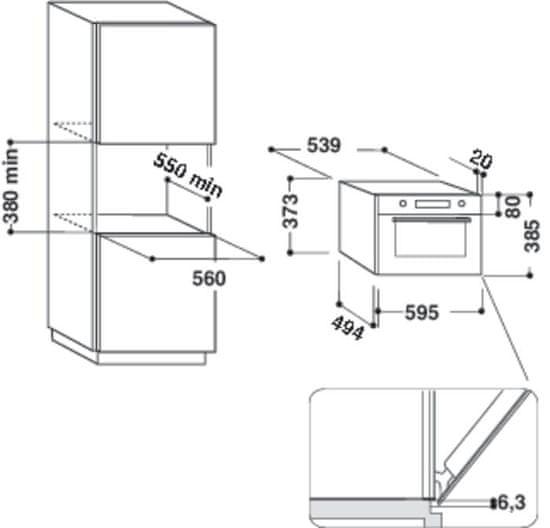 Whirlpool AMW 730 WH vgradna mikrovalovna pečica