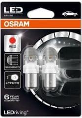 Osram Žárovka typ P21/5W, 12V, 2/0,4W, LEDriving červená
