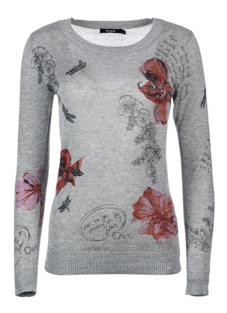 Desigual dámský svetr XL šedá