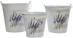 Kaemingk Set zinkových kbelíků levandule 3 ks
