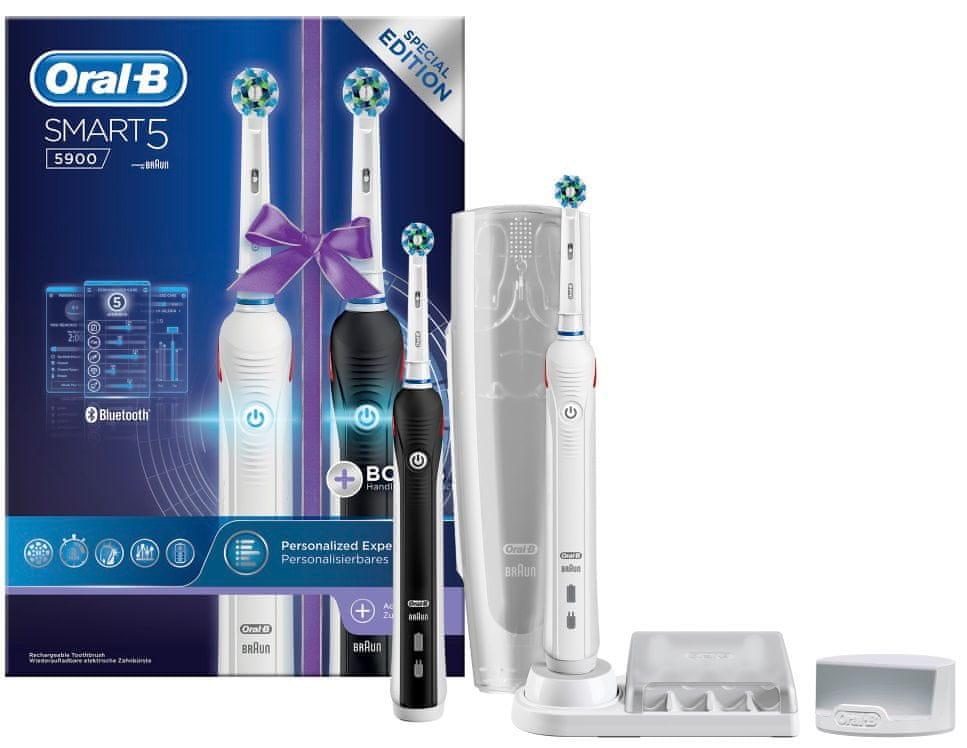 Elektryczna szczoteczka Oral-B Smart 5900 Cross Action duo handle z dwoma uchwytami oraz etui podróżnym