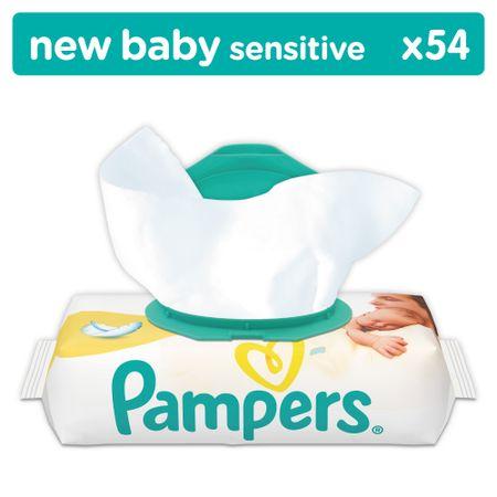 Pampers otroški vlažilni robčki Sensitive New Baby, 54 kosov