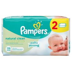 Pampers Naturally Clean törlőkendő 2 x 64