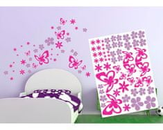 Dimex Dekoračné nálepky na stenu Motýle a kvety - 50 x 70 cm